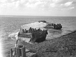 LVT 'Buffalos' taking Canadian troops across the Scheldt in 1944