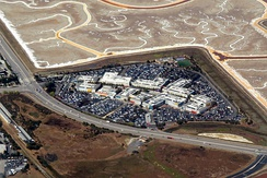 Aerial view of Facebook campus in Menlo Park, California