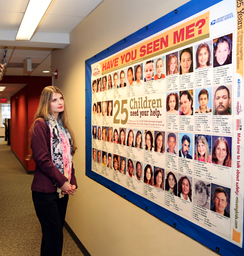 Alicia Kozakiewicz at the National Center for Missing and Exploited Children's headquarters in Alexandria, VA