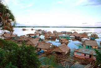 A floating village in Iquitos, Peru