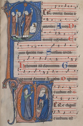 Excerpt from the Missal of the Sint-Pieters abbey (Ghent), manufactured in the 13th century. Manuscript preserved in the Ghent University Library.[6]