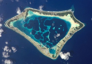 Satellite picture of the Atafu atoll in Tokelau in the Pacific Ocean