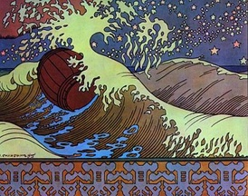 The Tsaritsa and her son afloat in the barrel, by Bilibin, corresponds to the Introduction to Act 2, and the second movement of Rimsky-Korsakov's suite from the opera.