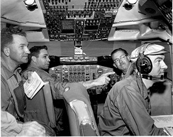 "Members of the joint FAA and Boeing team performing test flight on the Boeing 707 during certification process in April 15, 1958: From left to right: Joseph John ""Tym"" Tymczyszyn (FAA), Lew Wallich (Boeing), unknown, unknown"