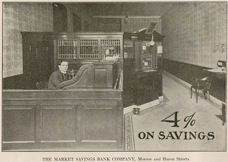 An advertisement for an early 20th century Toledo bank for a 4% interest rate on savings accounts