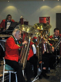 "Tuba section (known as ""bass section"") in a British style brass band"