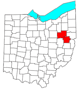 Location of the Canton-Massillon Metropolitan Statistical Area in Ohio