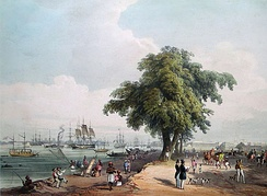View of the Calcutta port in 1848