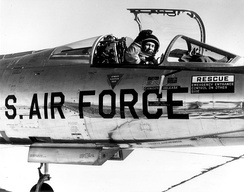 Chuck Yeager in the cockpit of an NF-104, 4 December 1963.