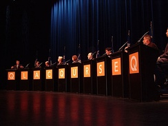 The Quebec City candidates debate during the 2005 PQ leadership campaign.