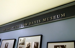 One of the display walls of the Shelby Collum Davis Museum