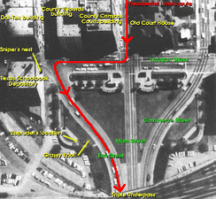 The path used by the motorcade. North is almost directly to the left.