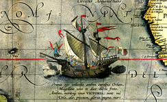 Victoria, the single ship to have completed the first world circumnavigation. (Detail from Maris Pacifici by Ortelius, 1589.)