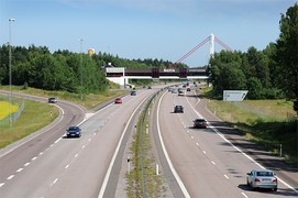 E4 motorway with rest area outside Nyköping, Sweden