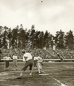 "Pesäpallo, a Finnish variation of baseball, was invented by Lauri ""Tahko"" Pihkala in the 1920s,[93] and after that, it has changed with the times and grown in popularity. Picture of Pesäpallo match in 1958 in Jyväskylä, Finland."