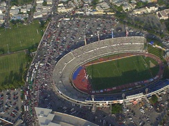 Aerial shot of the stadium of the Monterrey Rayados soccer team.