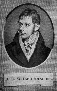 An engraving of Schleiermacher from his early adulthood.