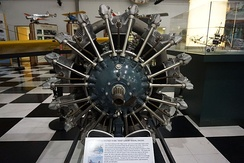 A Pratt & Whitney R-985 Wasp Junior on display at the Frontiers of Flight Museum