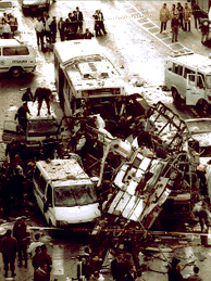 Aftermath of 1996 Jaffa Road bus bombings in which 26 people were killed