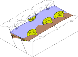 Example of a sedimentary basin in a half-graben.
