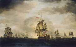 The Moonlight Battle of Cape St. Vincent, 16 January 1780 by Francis Holman, painted 1780