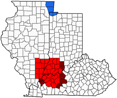 The Illinois–Indiana–Kentucky tri-state area within their states.Dark shaded counties were included only by WTVW prior to DT.
