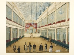 Interior of the newly opened London Pavilion Music Hall, 1861. Sonnhammer and Loibl are probably the figures in top hats at the front.[3]