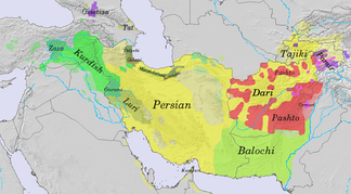Geographic distribution of modern Iranian languages