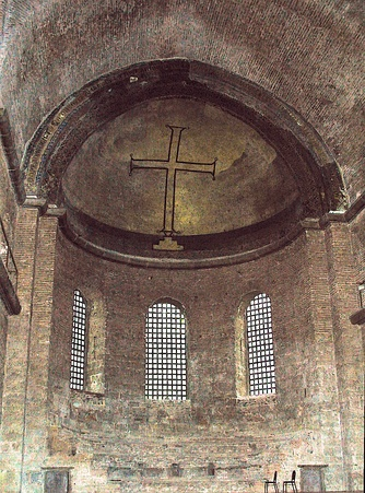 A simple cross: example of iconoclast art in the Hagia Irene Church in Istanbul