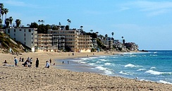 Laguna Beach coastline is popular for sunbathers