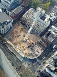 The Tottenham Court Road construction site (2009). This included the former site of the London Astoria music venue.