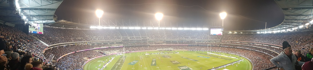 Panoramic photo of the MCG in Rugby League mode from the Great Southern Stand during the 1st game of the 2018 State of Origin series