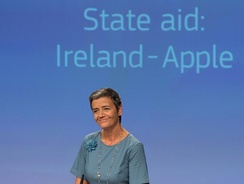 "Margrethe Vestager, announcing Apple's €13 billion fine for Irish taxes avoided from 2004–14 via an illegal ""Double Irish"" BEPS scheme"