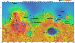 Map of Mars with the targeted landing site of Tianwen-1, and the locations of previous Mars landings