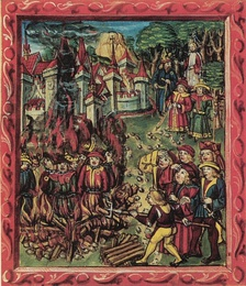 Jews (identified by yellow badges) being burned at the stake, from the Luzerner Schilling (1513).