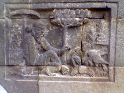 A Panchatantra relief at the Mendut temple, Central Java, Indonesia