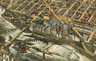 Lithograph of the Mills District, 1895