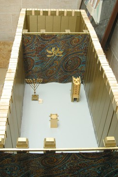 A model of the Tabernacle showing the holy place, and behind it the Holy of Holies