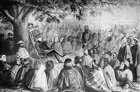 Cornelio Saavedra Rodríguez in meeting with the main lonkos of Araucania in 1869