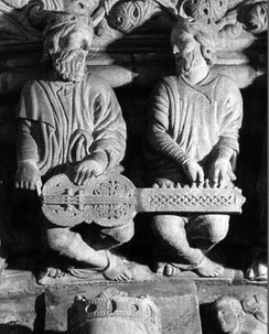 Ancient kings playing an organistrum at the Pórtico de la Gloria in the Catedral de Santiago de Compostela in Santiago de Compostela, Spain
