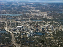 View of Downtown Orlando (center) and periphery to Lake Apopka (upper-right); January 2011