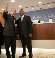 BET founder Robert L. Johnson with former U.S. President George W. Bush