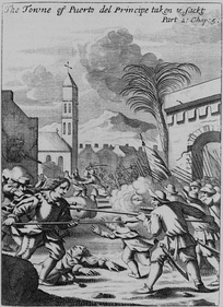 Puerto del Príncipe being sacked in 1668 by Henry Morgan