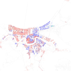 Map of racial distribution in New Orleans, 2010 U.S. Census. Each dot is 25 people: White, Black, Asian, Hispanic, or other (yellow)