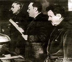 Prosecutor General Vyshinsky (centre), reading the 1937 indictment against Karl Radek during the 2nd Moscow Trial.