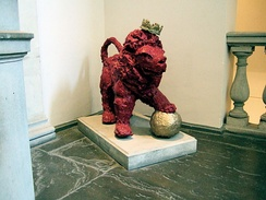 A papier-mâché version of Reggie the Lion, the mascot of KCLSU, outside the Great Hall in King's Strand Campus