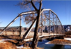 Rifle Bridge in winter on the Colorado River. The bridge, built in 1909, is now closed to traffic and is listed on the National Register of Historic Places.