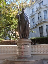 "Statue in London presenting Vladimir as a symbol of Ukrainian nationalism: ""St Volodymyr – Ruler of Ukraine, 980–1015, erected by Ukrainians in Great Britain in 1988 to celebrate the establishment of Christianity in Ukraine by St. Volodymir in 988"""