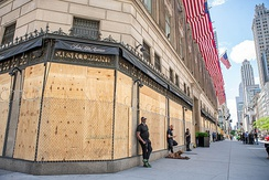 Boarded-up storefronts at New York City's Saks Fifth Avenue during the George Floyd protests