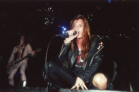 Rachel Bolan (left) and Sebastian Bach (right) opening for Mötley Crüe in 1989